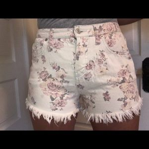 Floral white jean shorts